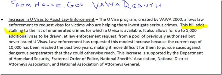 VAWA Reauthorization allows Visas for victims of stalking