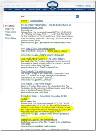 Search results for NWO on White House Web Site