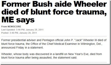 John Wheeler Bush Aide missing and killed mystery Jan 2011